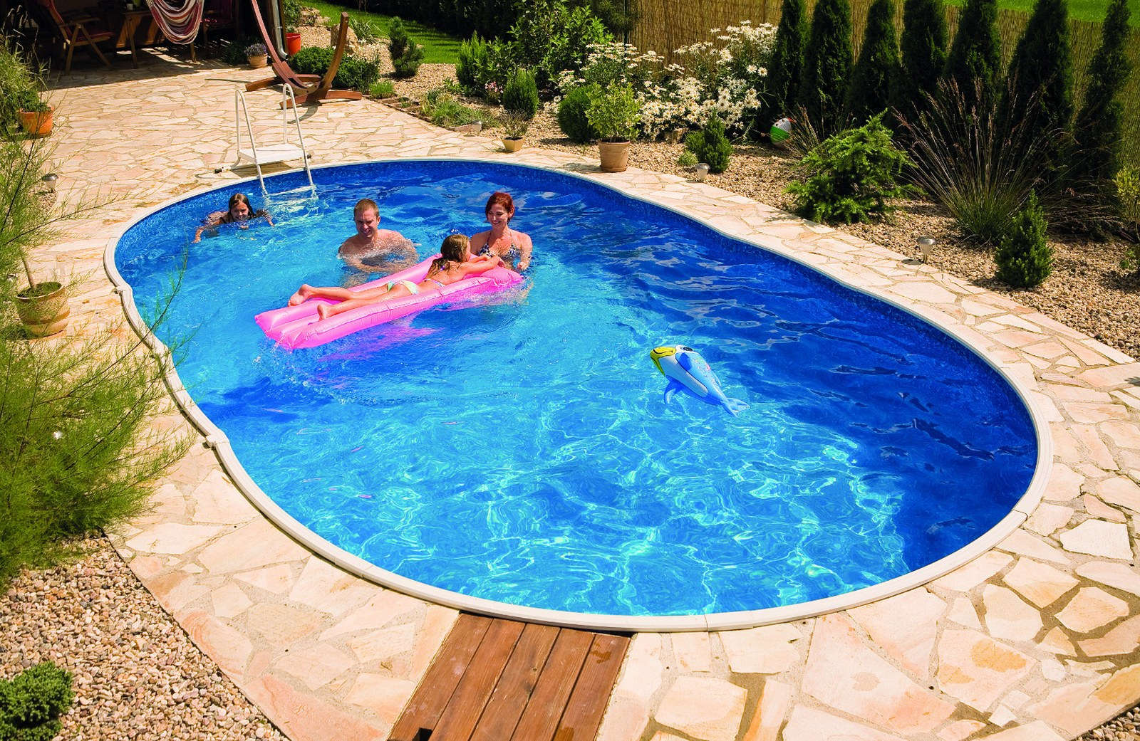 Azuro inbouw en opbouwzwembad ovaal met liner met motief mountfield 3exb0056 - Fotos van zwembaden ...