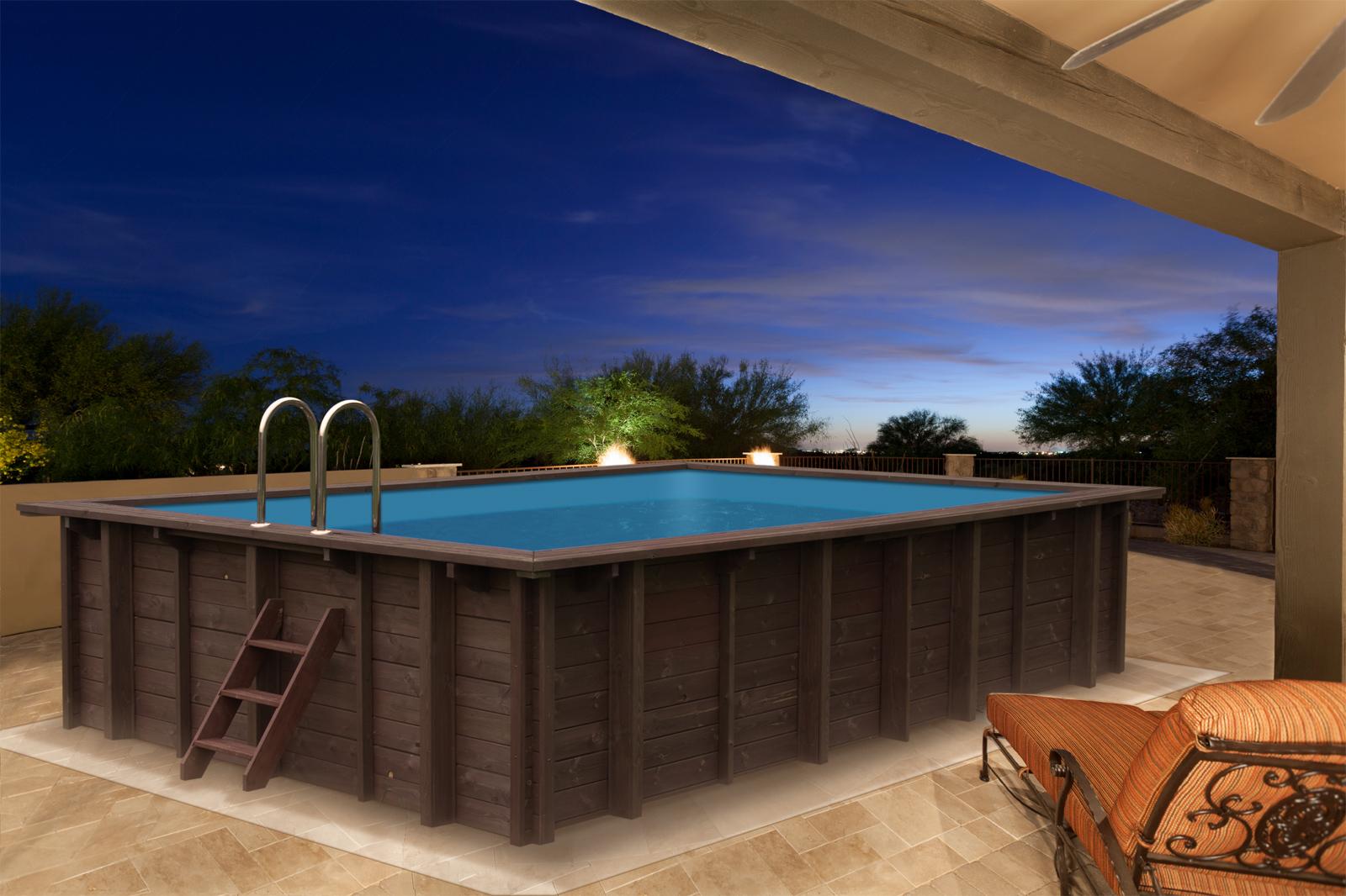 Achthoekige houten zwembaden geleverd met liner en skimmer met inspuitgat harmo pool - Houten strand zwembad ...