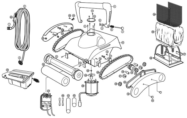 Pentair elektrische robots onderdelen vervangonderdelen for Robot piscine select