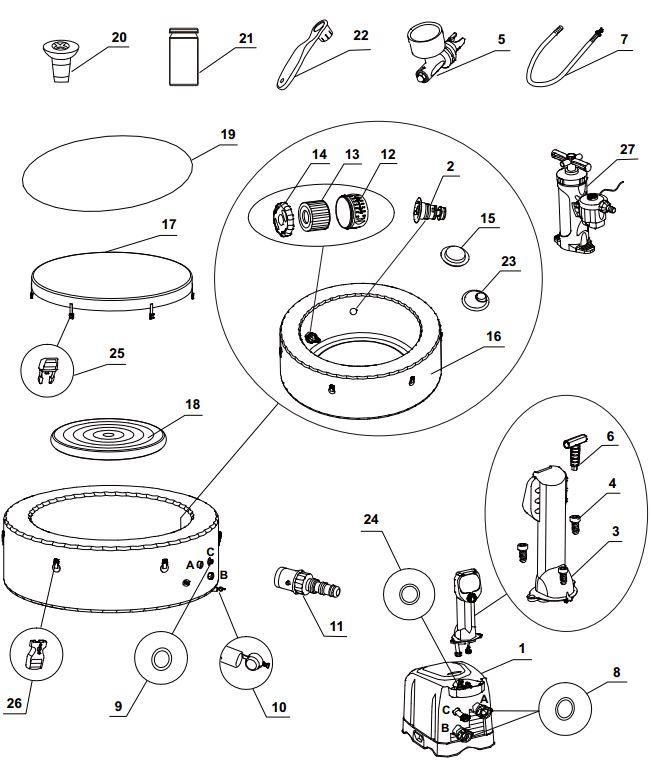 intex spa onderdelen vervangonderdelen spare parts. Black Bedroom Furniture Sets. Home Design Ideas