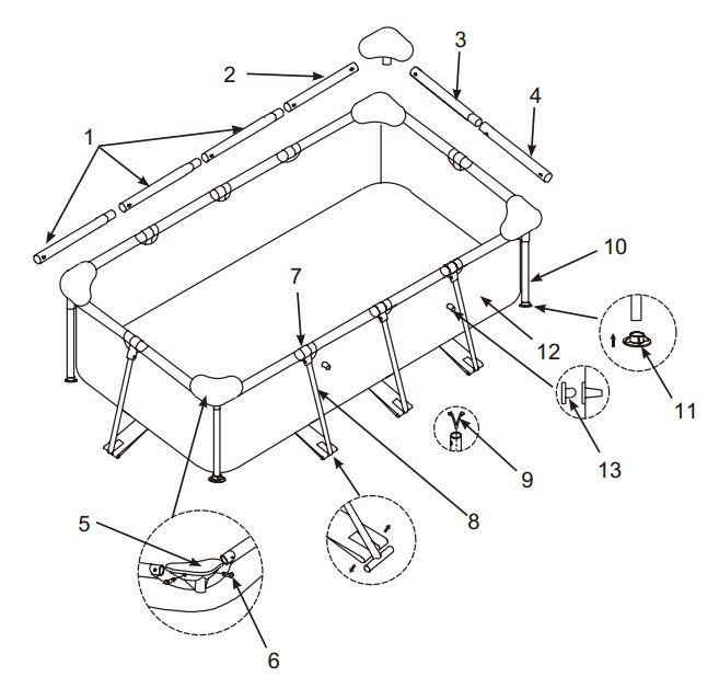 Intex klein rechthoekig zwembad onderdelen for Rechthoekig zwembad met pomp