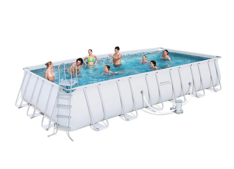 Bestway power steel rectangular frame pool bestway for Pool stahlwandbecken rechteckig