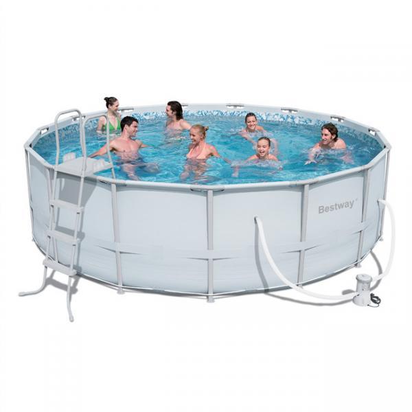 bestway power steel frame pool rond bestway. Black Bedroom Furniture Sets. Home Design Ideas