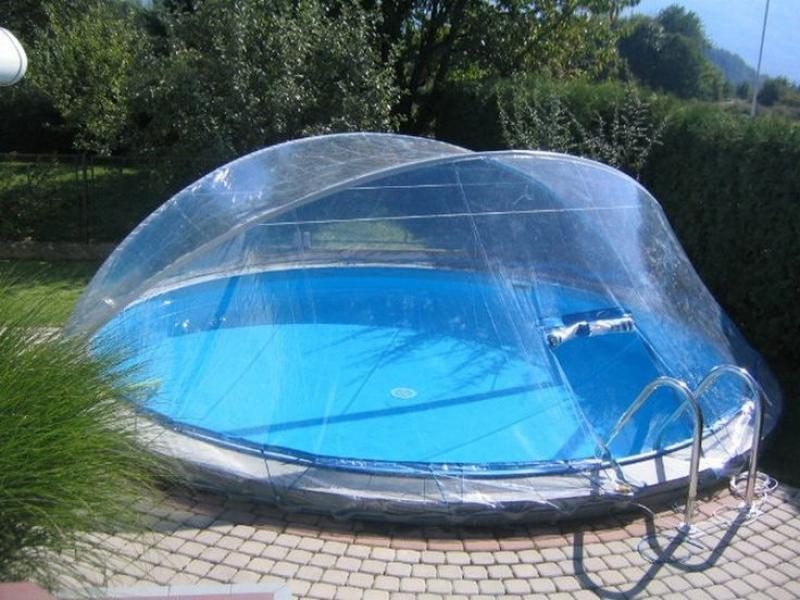 Cabrio dome rond voor zwembad met smalle rand zwembad.eu