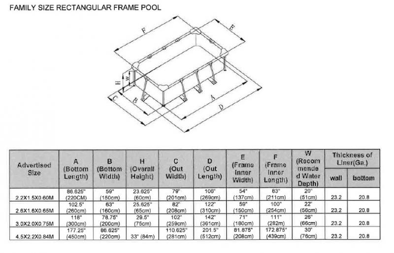 intex metal frame rechthoekig intex