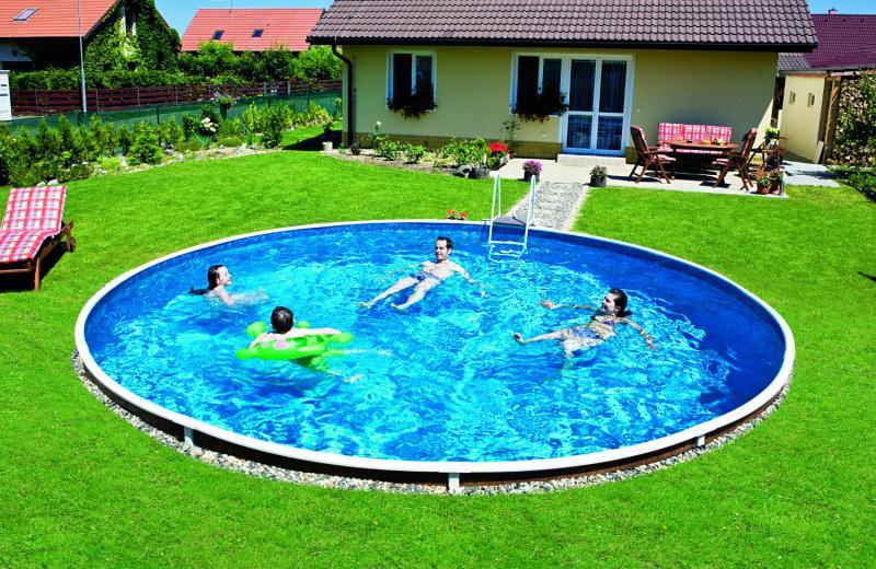 azuro inbouwzwembad rond met liner met motief