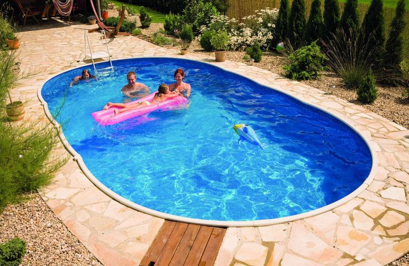 Azuro inbouw en opbouwzwembad ovaal met liner met for Zwembad inbouw