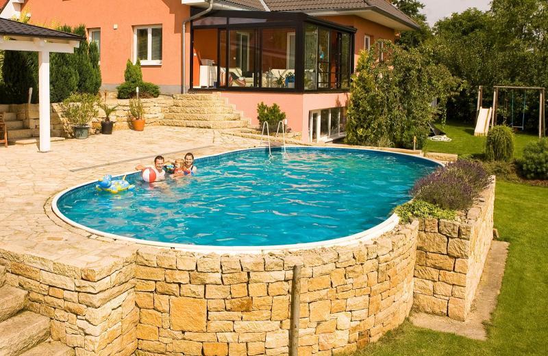 Azuro inbouw en opbouwzwembad ovaal met liner met for Opbouw zwembaden