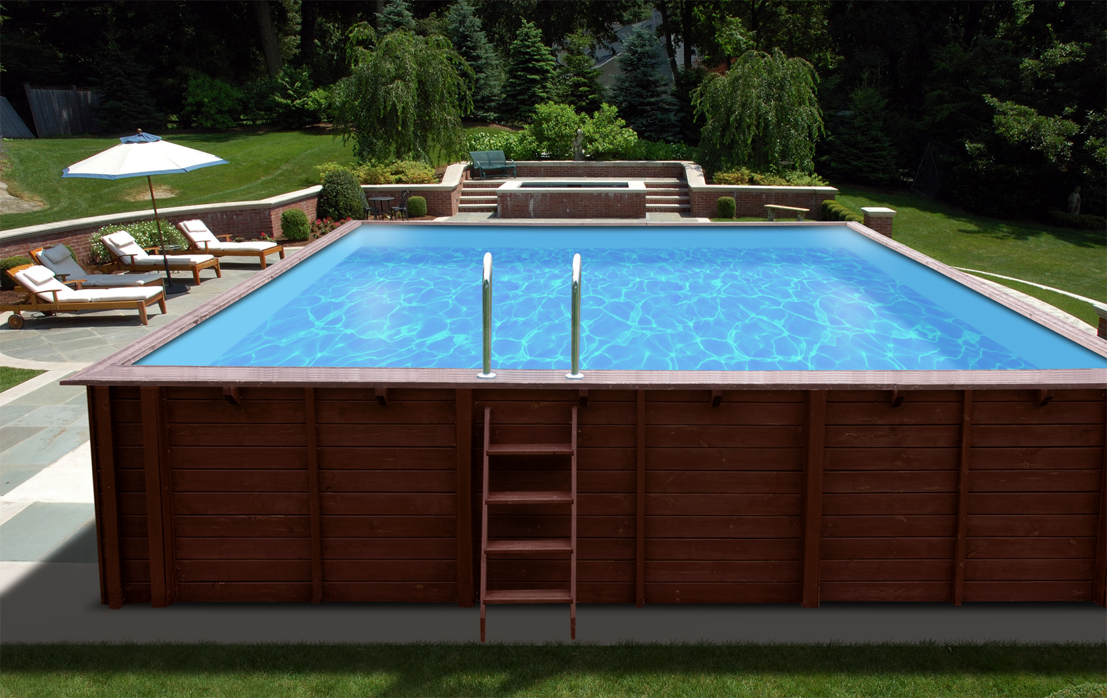 Houten zwembaden rechthoekig harmopool for Rechthoekig zwembad